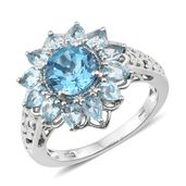 Marambaia Topaz Platinum Over Sterling Silver Openwork Floral Ring (Size 7.0) TGW 4.75 cts.