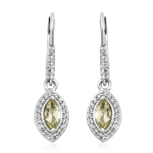 Madagascar Olive Apatite, Cambodian Zircon Platinum Over Sterling Silver Lever Back Earrings TGW 1.20 cts.