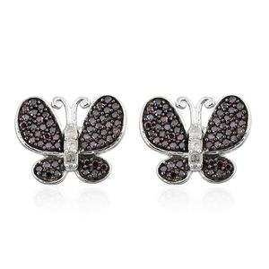 Purple Diamond (IR), Diamond Black Rhodium & Platinum Over Sterling Silver Butterfly Stud Earrings TDiaWt 0.50 cts, TGW 0.50 cts.