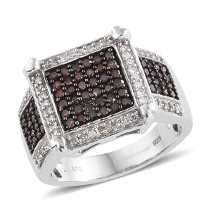 Purple Diamond (IR), Diamond Black Rhodium & Platinum Over Sterling Silver Checkerboard Ring (Size 7.0) TDiaWt 1.00 cts, TGW 1.00 cts.