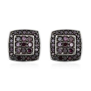 Purple Diamond (IR) Black Rhodium & Platinum Over Sterling Silver Stud Earrings TDiaWt 0.50 cts, TGW 0.50 cts.