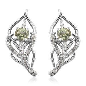 Madagascar Olive Apatite, Cambodian Zircon Platinum Over Sterling Silver Floral Earrings TGW 1.42 cts.