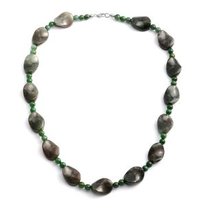 Green Aventurine Platinum Over Sterling Silver Necklace (20 in) TGW 208.00 cts.