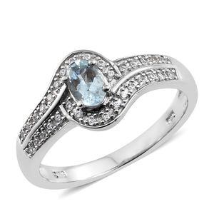 Premium AAA Espirito Santo Aquamarine, Cambodian Zircon Platinum Over Sterling Silver Bypass Ring (Size 5.0) TGW 0.67 cts.