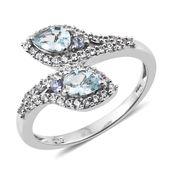 Premium AAA Espirito Santo Aquamarine, Tanzanite, Cambodian Zircon Platinum Over Sterling Silver Bypass Ring (Size 10.0) TGW 1.23 cts.