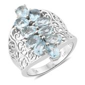 Premium AAA Espirito Santo Aquamarine Platinum Over Sterling Silver Openwork Elongated Concave Ring (Size 7.0) TGW 3.50 cts.