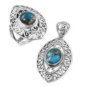 Customer Appreciation Day Artisan Crafted Mojave Blue Turquoise Sterling Silver Ring (Size 9) and Pendant without Chain TGW 9.27 cts.