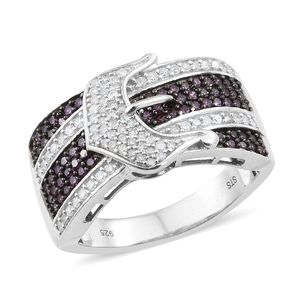 Purple Diamond (IR), Diamond Black Rhodium and Platinum Over Sterling Silver Buckle Ring (Size 10.0) TDiaWt 1.00 cts, TGW 1.00 cts.