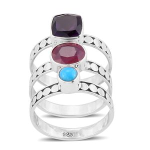 Bali Legacy Collection Set of 3 Niassa Ruby, Multi Gemstone Sterling Silver Stack Rings (Size 7.0) TGW 4.94 cts.
