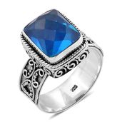 Bali Legacy Collection Caribbean Quartz Sterling Silver Ring (Size 7.0) TGW 6.50 cts.
