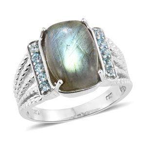 Malagasy Labradorite, Electric Blue Topaz Platinum Over Sterling Silver Ring (Size 9.0) TGW 8.73 cts.