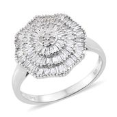 Diamond Sterling Silver Ring (Size 6.0) TDiaWt 1.00 cts, TGW 1.00 cts.