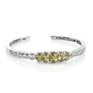 Madagascar Olive Apatite Platinum Over Sterling Silver 5 Stone Openwork Cuff (7.25 in) TGW 6.40 cts.