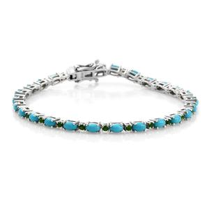 Arizona Sleeping Beauty Turquoise, Russian Diopside Platinum Over Sterling Silver Bracelet (7.50 In) TGW 5.64 cts.