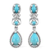 Arizona Sleeping Beauty Turquoise, Cambodian Zircon Platinum Over Sterling Silver Dangle Earrings TGW 2.00 cts.