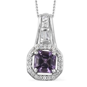 Asscher Cut Rose De France Amethyst, White Topaz, Cambodian Zircon Platinum Over Sterling Silver Pendant With Chain (20 in) TGW 0.80 cts.