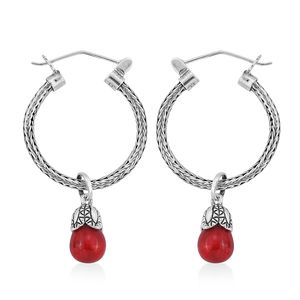 Bali Legacy Collection Sponge Coral Sterling Silver Foxtail Hoop Earrings with Removable Charm