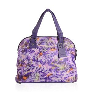 Vivid! by Sukriti Purple Genuine Leather Hand Painted Satchel Bag (15x5.5x10 in)