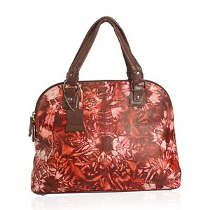 Brown Genuine Leather Hand Painted Satchel Bag (14x5.2x10.5 in)