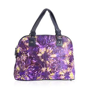 Plum Genuine Leather Hand Painted Satchel Bag (14x5.2x10.5 in)