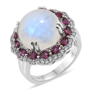 Rainbow Moonstone, Multi Gemstone Platinum Over Sterling Silver Ring (Size 7.0) TGW 16.74 cts.