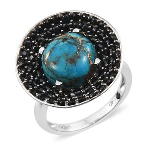 GP Mojave Blue Turquoise, Thai Black Spinel, Kanchanaburi Blue Sapphire Platinum Over Sterling Silver Ring (Size 7.0) TGW 8.33 cts.