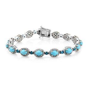 Arizona Sleeping Beauty Turquoise, Malgache Neon Apatite, Cambodian Zircon Platinum Over Sterling Silver Bracelet (8.00 In) Total Gem Stone Weight 14.86 Carat