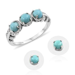 Sonoran Blue Turquoise Platinum Over Sterling Silver Stud Earrings and Trilogy Ring (Size 5) TGW 2.29 cts.