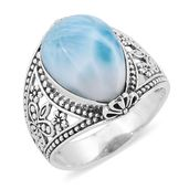 Bali Legacy Collection Larimar Sterling Silver Floral Ring (Size 7.0) TGW 10.68 cts.