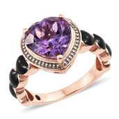 GP Rose De France Amethyst, Kanchanaburi Blue Sapphire, Black Enameled Vermeil RG Over Sterling Silver Ring (Size 7.0) TGW 4.48 cts.