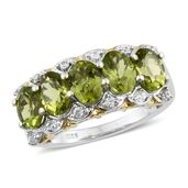 Hebei Peridot, Cambodian Zircon Platinum Over Sterling Silver Ring (Size 7.0) TGW 4.49 cts.