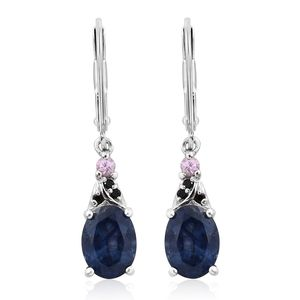Masoala Sapphire, Madagascar Pink Sapphire, Thai Black Spinel Platinum Over Sterling Silver Lever Back Earrings TGW 3.55 cts.