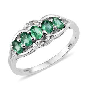 Premium Brazilian Emerald, Diamond Accent Platinum Over Sterling Silver 5 Stone Split Ring (Size 7.0) TGW 0.76 cts.