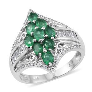 Premium Brazilian Emerald, Cambodian Zircon Platinum Over Sterling Silver Ring (Size 9.0) TGW 2.62 cts.