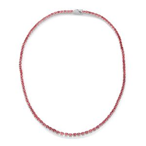 Red Sapphire Sterling Silver Necklace (18 in) Total Gem Stone Weight 22.00 Carat