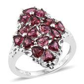 Orissa Rhodolite Garnet Platinum Over Sterling Silver Floral Ring (Size 7.0) TGW 4.65 cts.