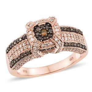 Red Diamond (IR), Diamond Black Rhodium & Vermeil RG Over Sterling Silver Ring (Size 7.0) TDiaWt 1.00 cts, TGW 1.00 cts.