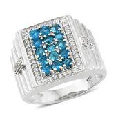 Malgache Neon Apatite, Cambodian Zircon Platinum Over Sterling Silver Men's Ring (Size 13.0) TGW 2.71 cts.