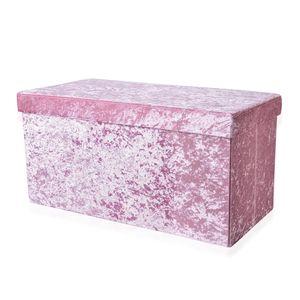 Pink Velvet Foldable Storage Ottoman (30x15x15 in)