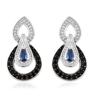 Himalayan Kyanite, Thai Black Spinel, Cambodian Zircon Platinum Over Sterling Silver Triple Drop Earrings TGW 1.67 cts.