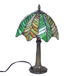 Home Decor Green Resin, Glass Tiffany Style Coconut Tree Mosaic Table Lamp (10 in) (Requires E-26 Bulb Adapter Included)