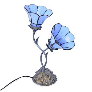 Home Decor Blue Resin, Glass Tiffany Style Table Lamp (Requires E-12 Bulb Adapter Included)