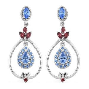 J Francis - Platinum Over Sterling Silver Dangle Drop Earrings Made with Blue and Red SWAROVSKI ZIRCONIA TGW 3.35 cts.
