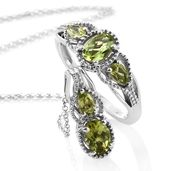Hebei Peridot Platinum Over Sterling Silver Ring (Size 9) and Pendant With Chain (20 in) TGW 2.20 cts.