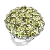 Hebei Peridot Platinum Over Sterling Silver Cluster Cocktail Ring (Size 7.0) TGW 10.29 cts.