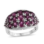 Orissa Rhodolite Garnet, Thai Black Spinel Platinum Over Sterling Silver Dome Ring (Size 7.0) TGW 5.58 cts.