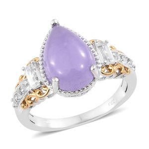 Burmese Purple Jade, White Topaz 14K YG and Platinum Over Sterling Silver Ring (Size 7.0) TGW 7.58 cts.