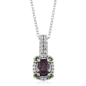 Burmese Lavender Spinel, Russian Diopside, Cambodian Zircon Platinum Over Sterling Silver Pendant With Chain (20 in) TGW 1.25 cts.