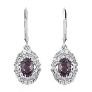 Burmese Lavender Spinel, Cambodian Zircon Platinum Over Sterling Silver Lever Back Earrings TGW 2.54 cts.