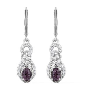 Burmese Lavender Spinel, Cambodian Zircon Platinum Over Sterling Silver Lever Back  Earrings TGW 1.66 cts.